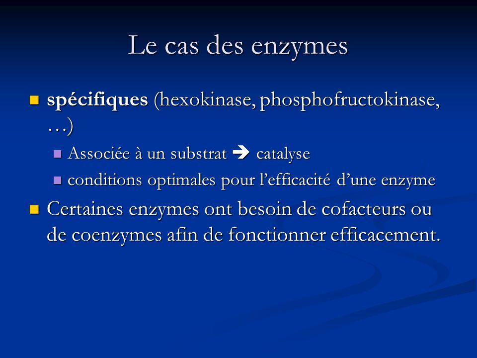 Le cas des enzymes spécifiques (hexokinase, phosphofructokinase, …)