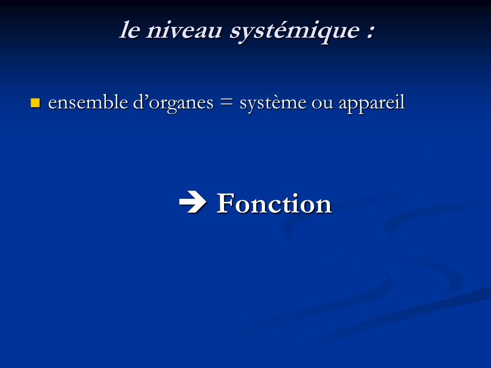 le niveau systémique : ensemble d'organes = système ou appareil