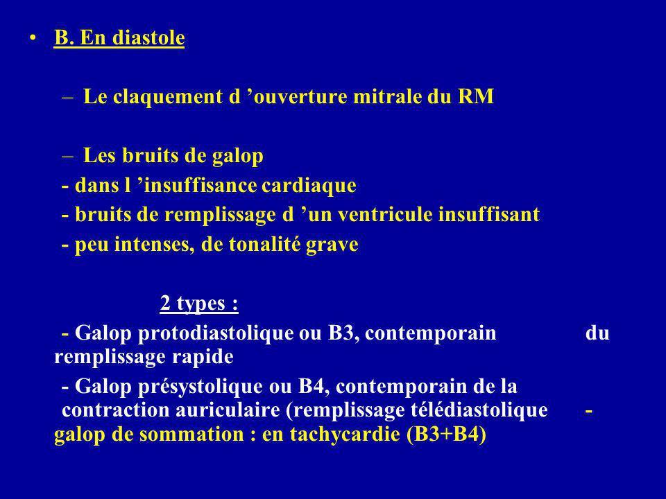 B. En diastole Le claquement d 'ouverture mitrale du RM. Les bruits de galop. - dans l 'insuffisance cardiaque.