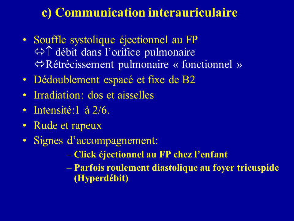c) Communication interauriculaire
