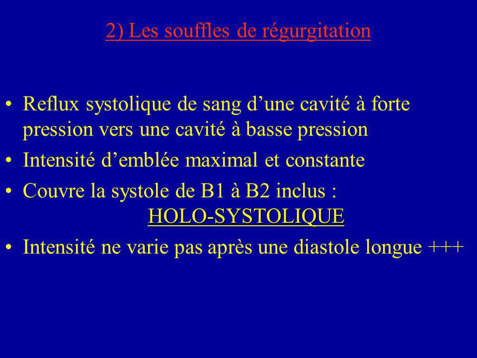 2) Les souffles de régurgitation