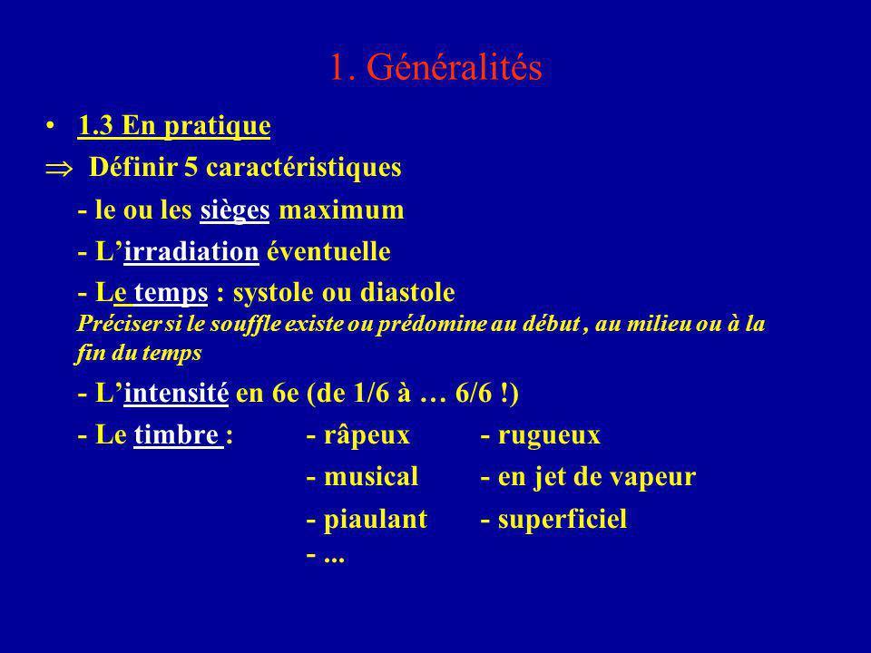 1. Généralités 1.3 En pratique  Définir 5 caractéristiques