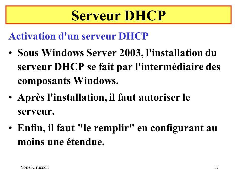 Serveur DHCP Activation d un serveur DHCP