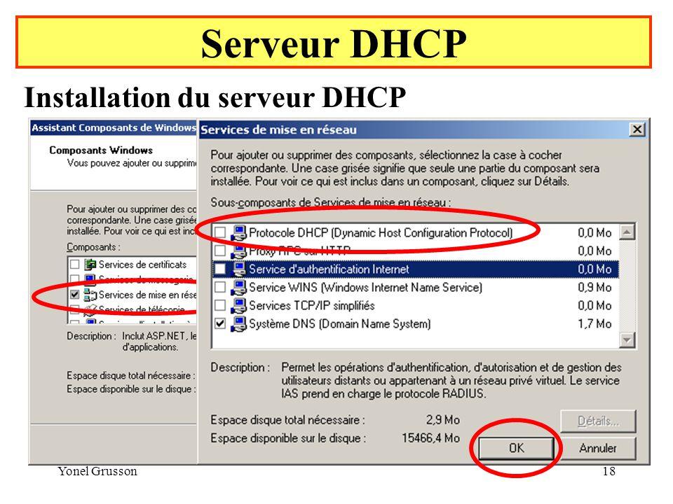 Serveur DHCP Installation du serveur DHCP Yonel Grusson