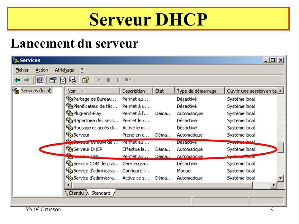 Serveur DHCP Lancement du serveur Yonel Grusson