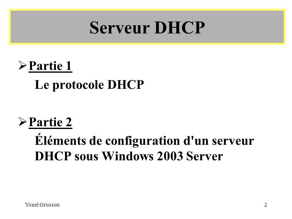 Serveur DHCP Partie 1 Le protocole DHCP Partie 2