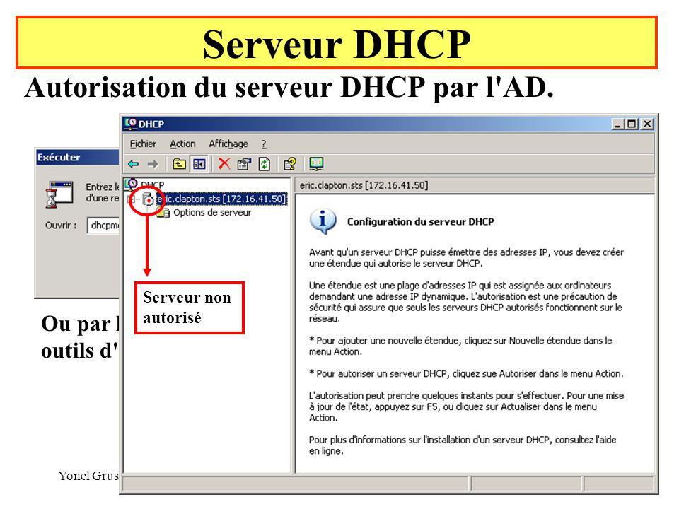 Serveur DHCP Autorisation du serveur DHCP par l AD.