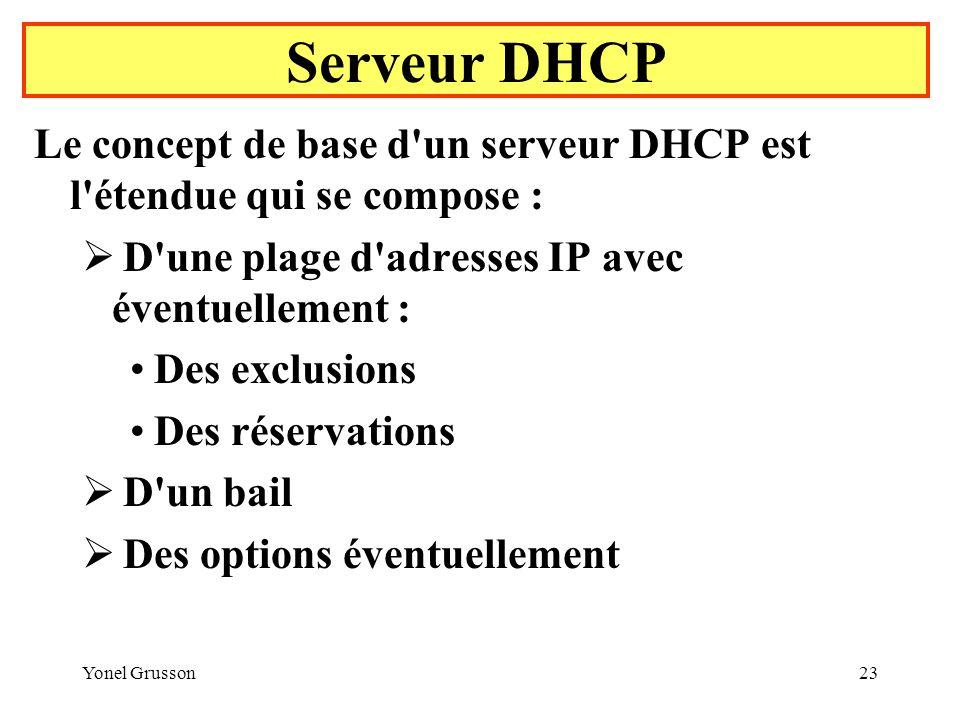 Serveur DHCP Le concept de base d un serveur DHCP est l étendue qui se compose : D une plage d adresses IP avec éventuellement :
