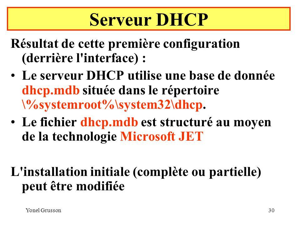 Serveur DHCP Résultat de cette première configuration (derrière l interface) :