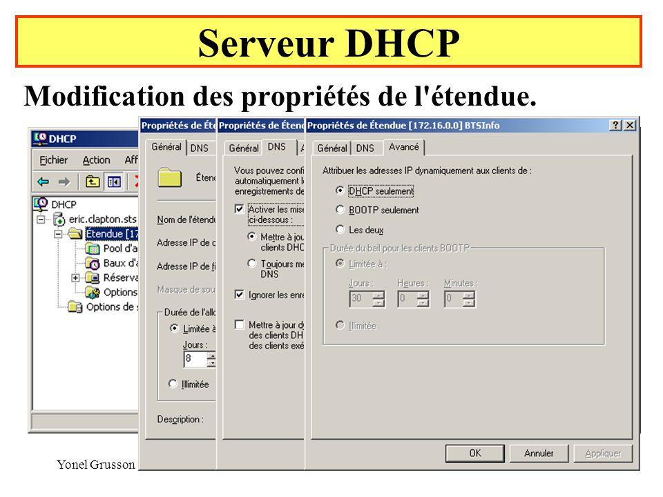 Serveur DHCP Modification des propriétés de l étendue. Yonel Grusson