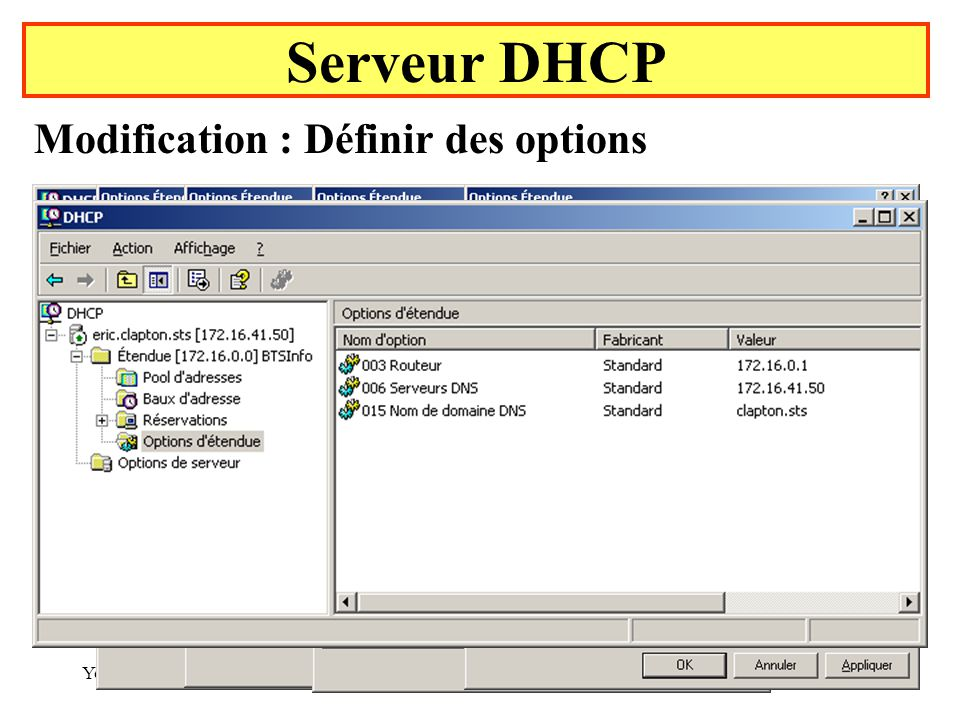 Serveur DHCP Modification : Définir des options