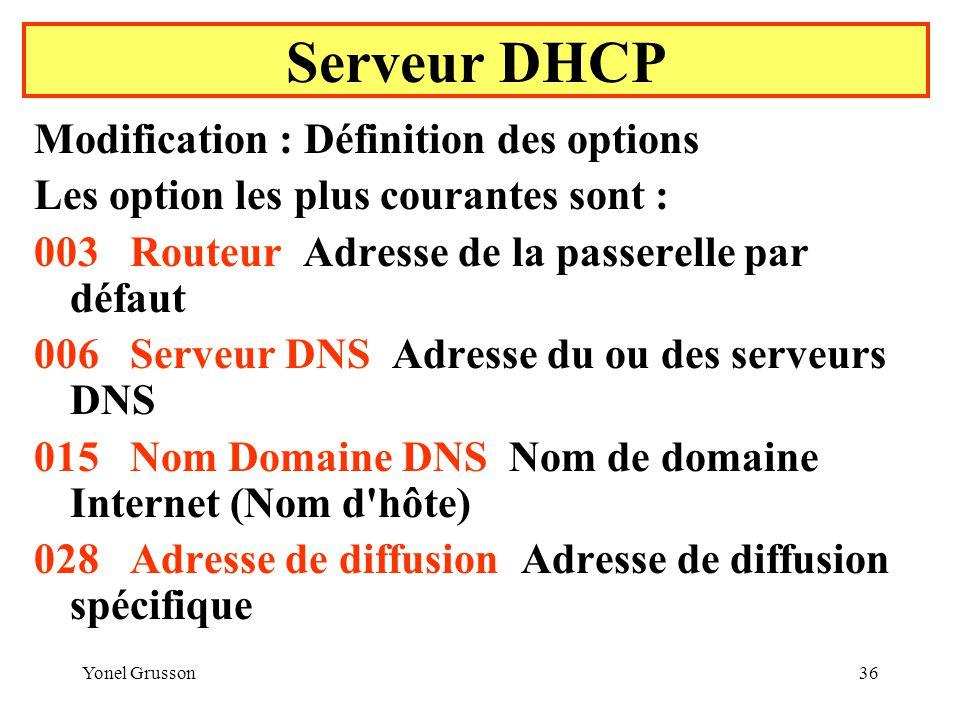 Serveur DHCP Modification : Définition des options