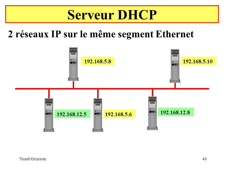 Serveur DHCP 2 réseaux IP sur le même segment Ethernet 192.168.5.8