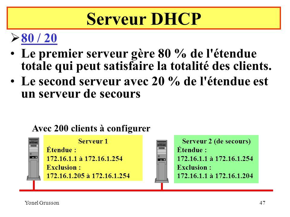 Serveur DHCP 80 / 20. Le premier serveur gère 80 % de l étendue totale qui peut satisfaire la totalité des clients.