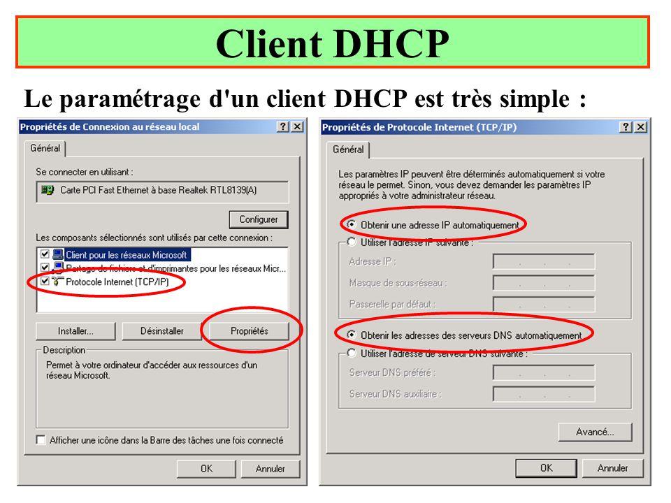Client DHCP Le paramétrage d un client DHCP est très simple :