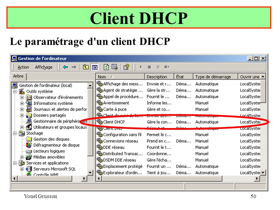 Client DHCP Le paramétrage d un client DHCP Yonel Grusson
