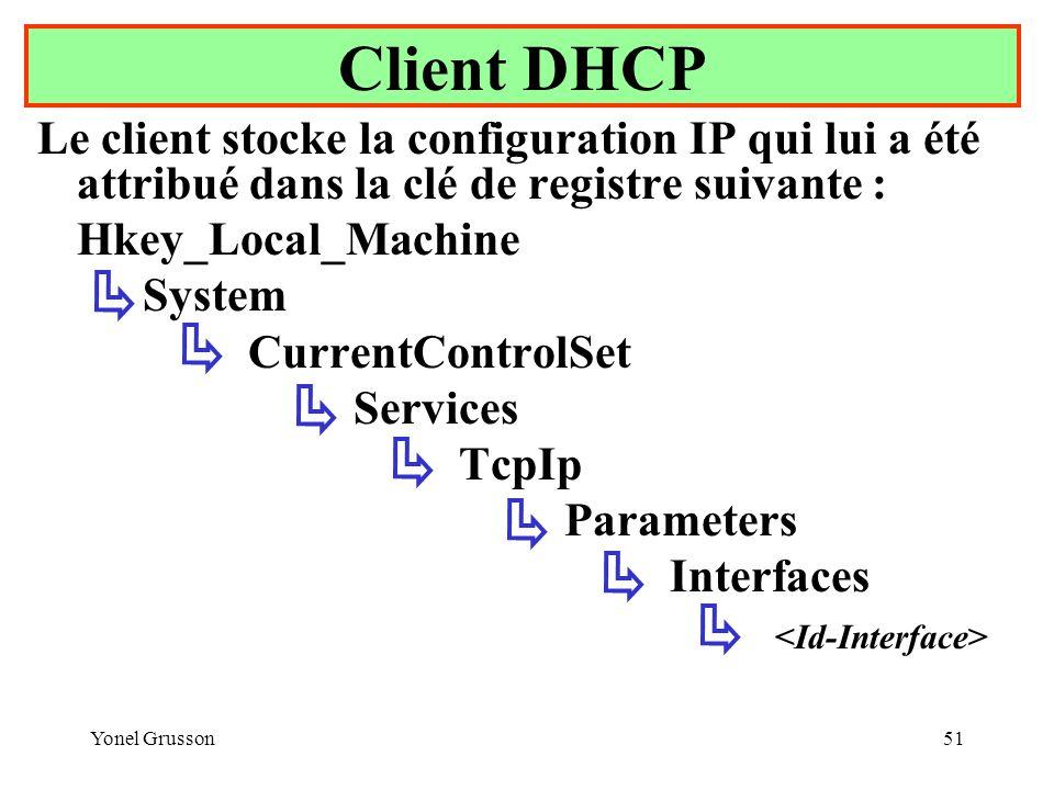 Client DHCP Le client stocke la configuration IP qui lui a été attribué dans la clé de registre suivante :