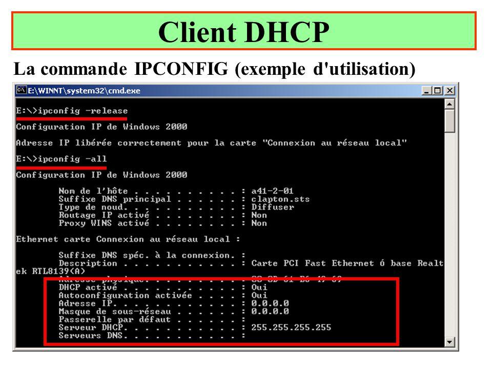 Client DHCP La commande IPCONFIG (exemple d utilisation) Yonel Grusson