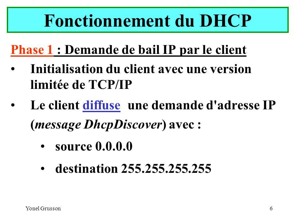 Fonctionnement du DHCP