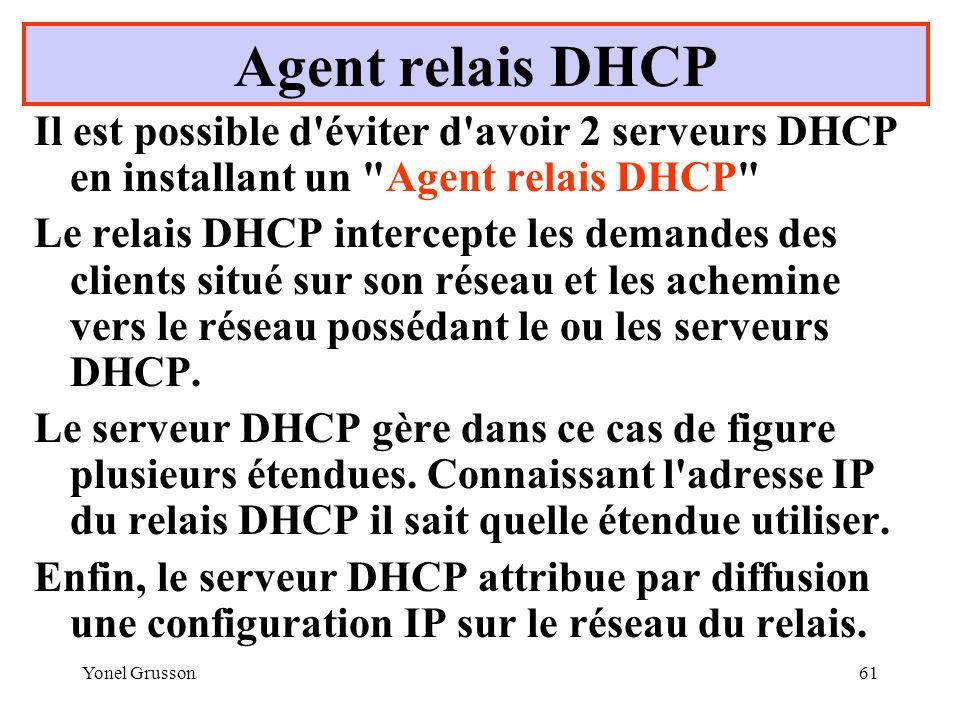 Agent relais DHCP Il est possible d éviter d avoir 2 serveurs DHCP en installant un Agent relais DHCP