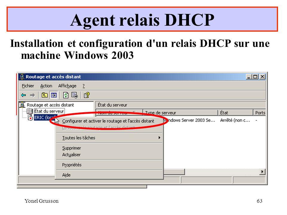 Agent relais DHCP Installation et configuration d un relais DHCP sur une machine Windows 2003. Ou.