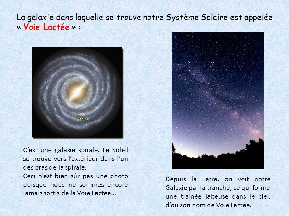 La galaxie dans laquelle se trouve notre Système Solaire est appelée « Voie Lactée » :