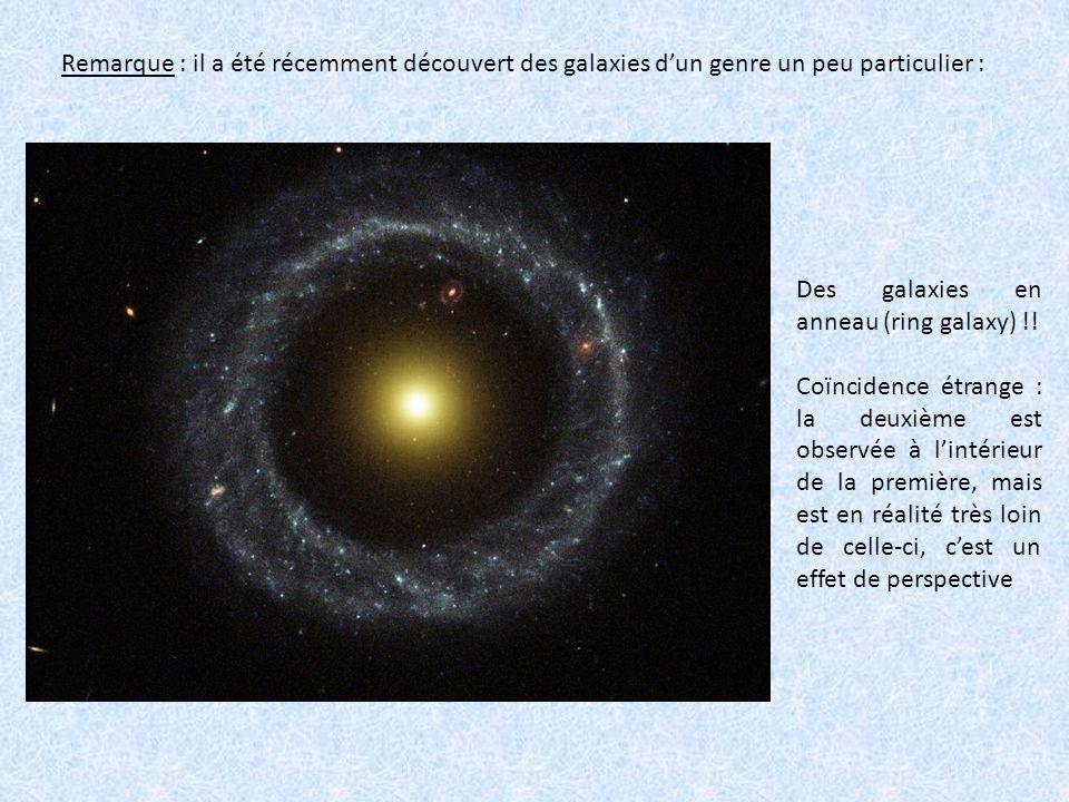 Remarque : il a été récemment découvert des galaxies d'un genre un peu particulier :