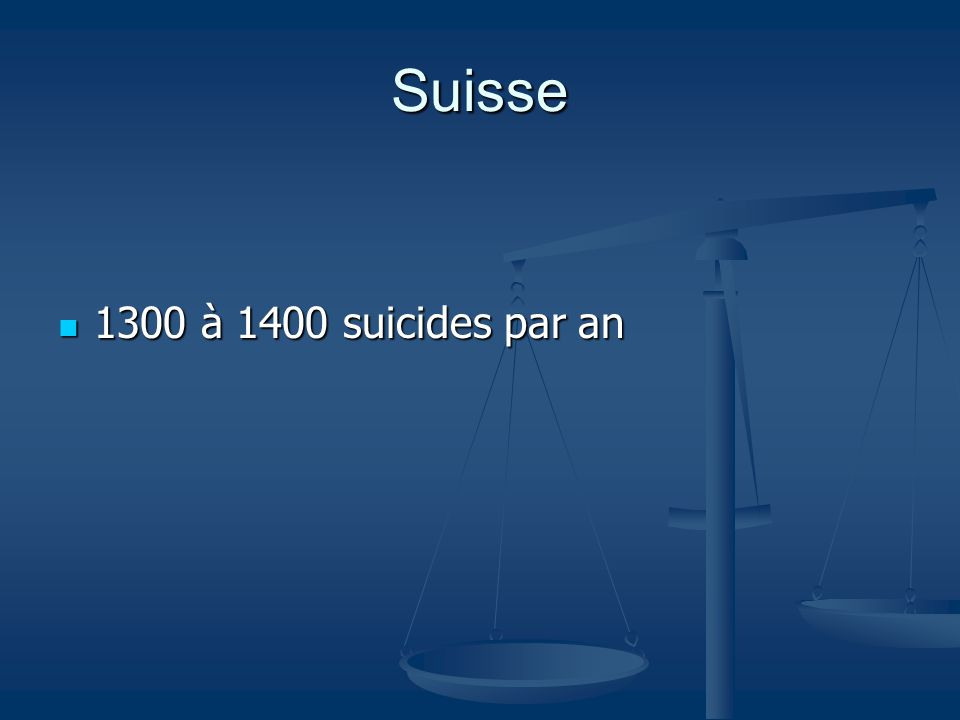 Suisse 1300 à 1400 suicides par an