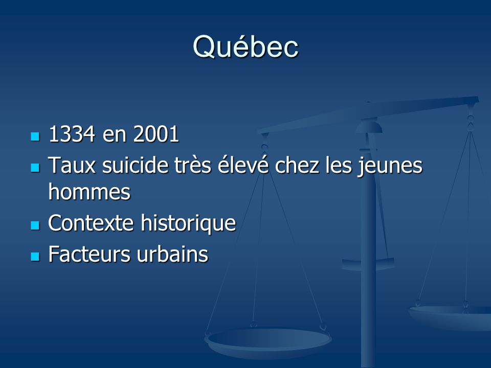 Québec 1334 en 2001 Taux suicide très élevé chez les jeunes hommes