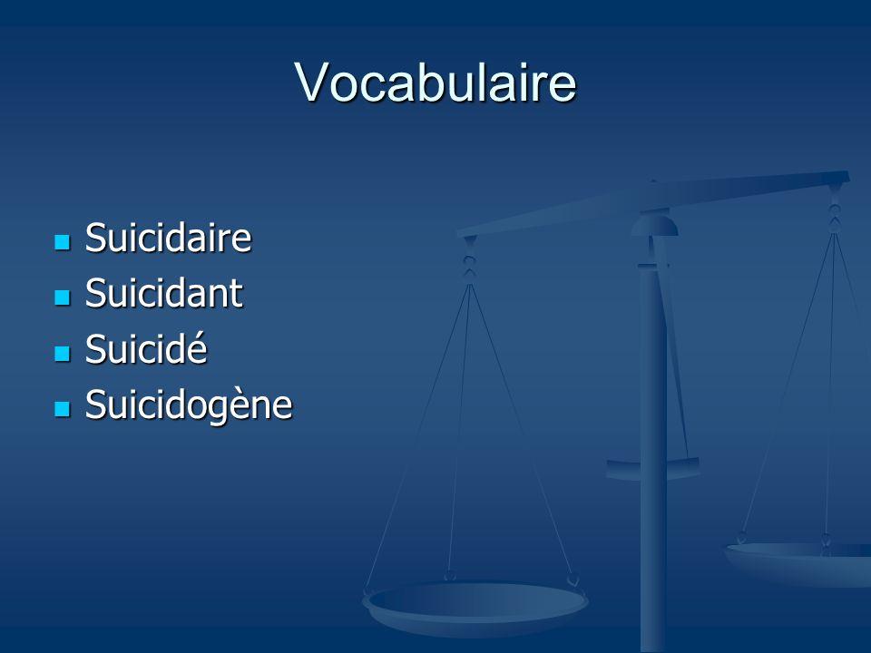 Vocabulaire Suicidaire Suicidant Suicidé Suicidogène