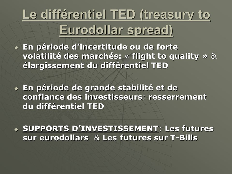 Le différentiel TED (treasury to Eurodollar spread)