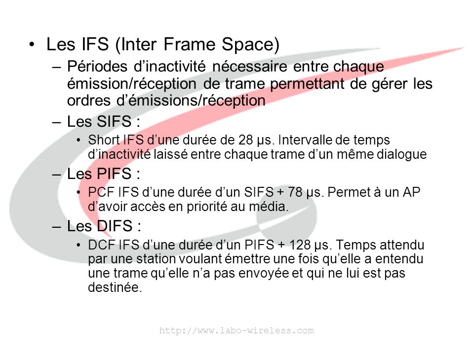 Les IFS (Inter Frame Space)