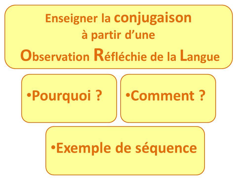 Enseigner la conjugaison Observation Réfléchie de la Langue