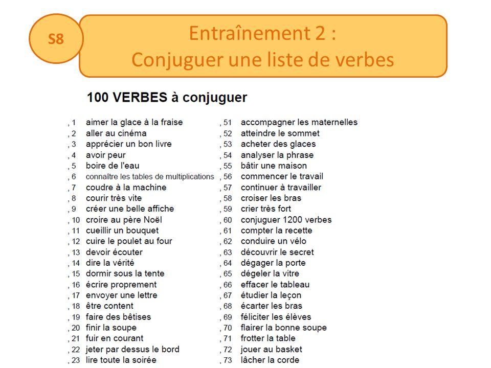 Conjuguer une liste de verbes