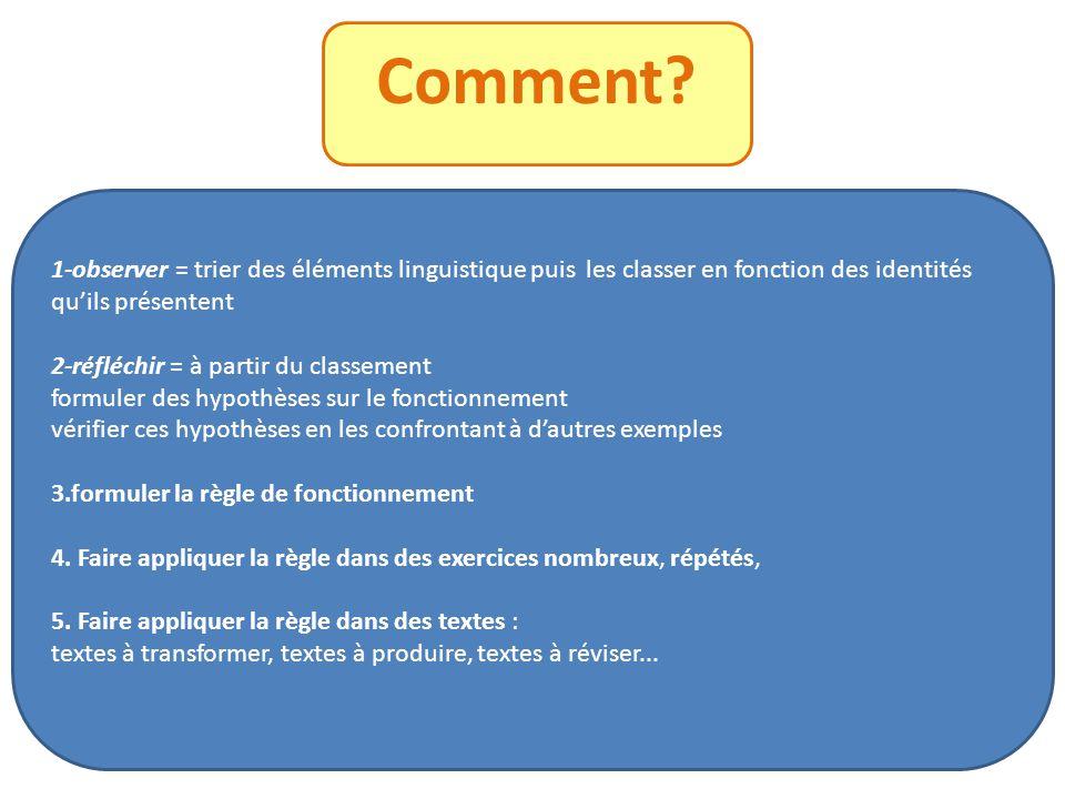 Comment 1-observer = trier des éléments linguistique puis les classer en fonction des identités qu'ils présentent.