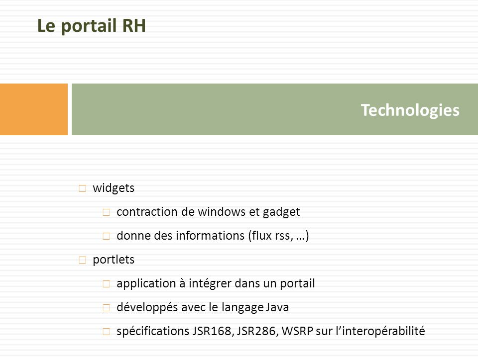 Le portail RH Technologies widgets contraction de windows et gadget