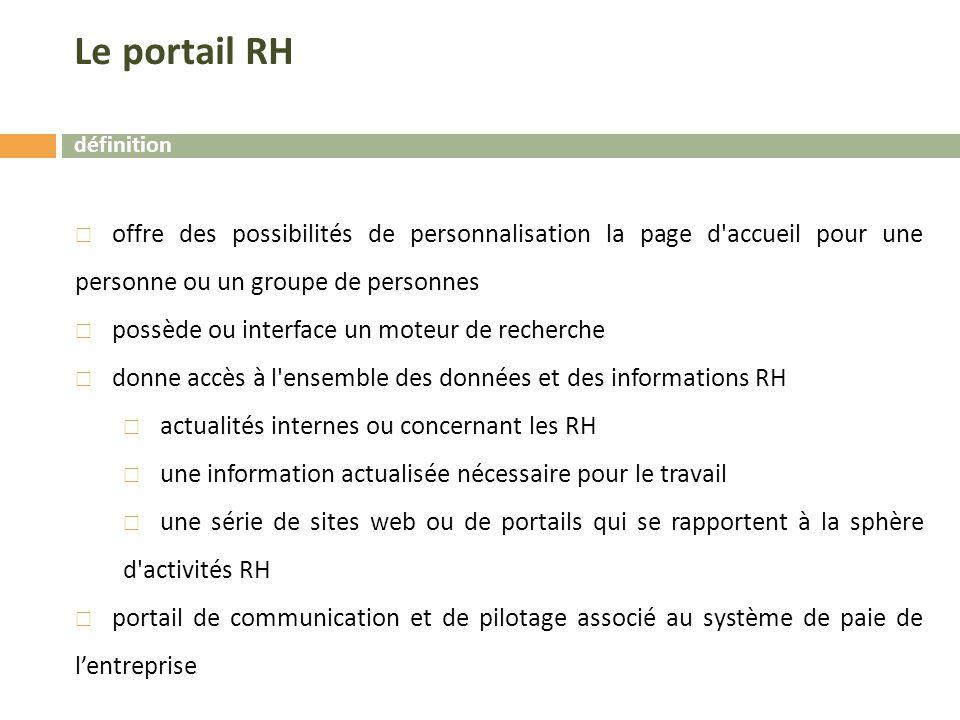 Le portail RH définition. offre des possibilités de personnalisation la page d accueil pour une personne ou un groupe de personnes.