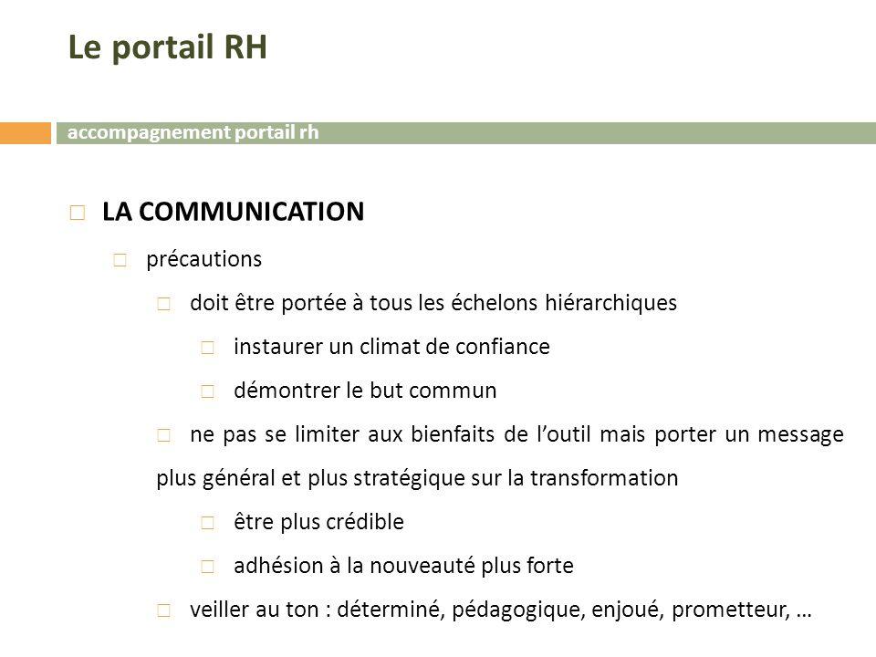 Le portail RH LA COMMUNICATION précautions