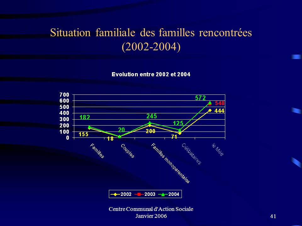 Situation familiale des familles rencontrées (2002-2004)