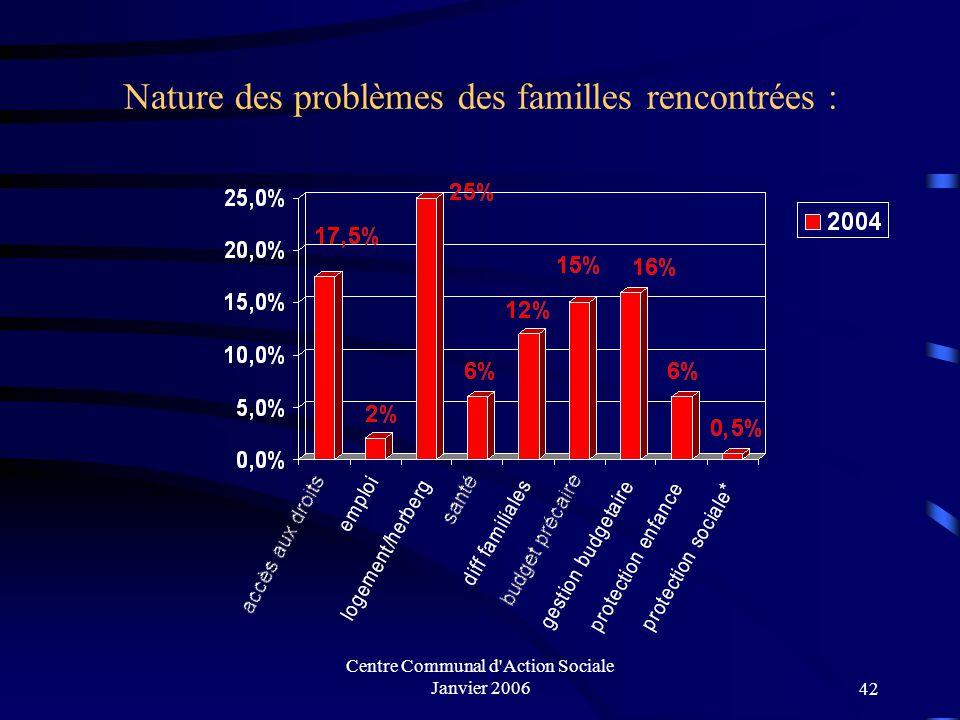 Nature des problèmes des familles rencontrées :