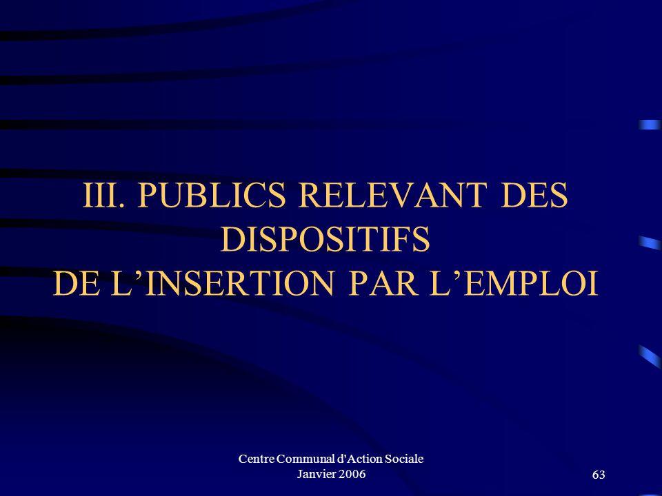 III. PUBLICS RELEVANT DES DISPOSITIFS DE L'INSERTION PAR L'EMPLOI