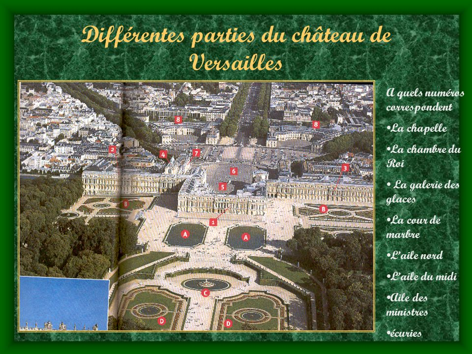 Différentes parties du château de Versailles
