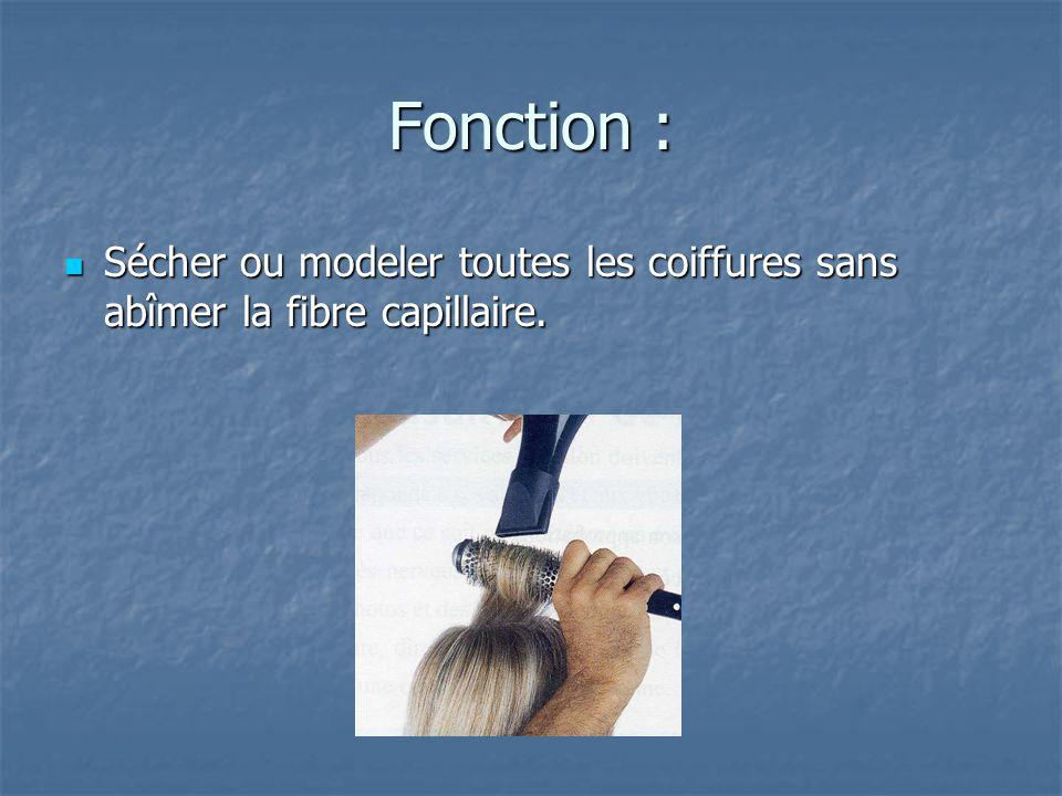 Fonction : Sécher ou modeler toutes les coiffures sans abîmer la fibre capillaire.