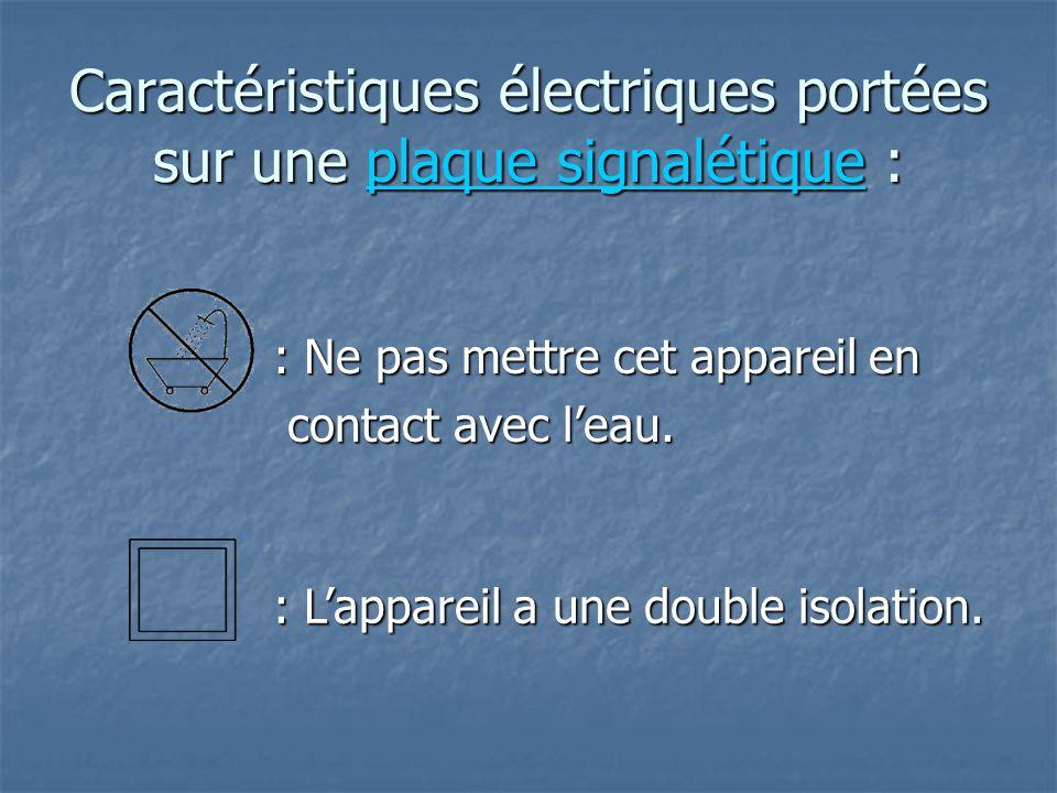 Caractéristiques électriques portées sur une plaque signalétique :