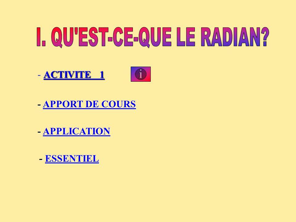 I. QU EST-CE-QUE LE RADIAN
