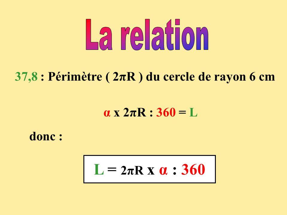 La relation 37,8 : Périmètre ( 2πR ) du cercle de rayon 6 cm.