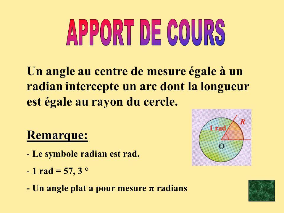 APPORT DE COURS Un angle au centre de mesure égale à un radian intercepte un arc dont la longueur est égale au rayon du cercle.
