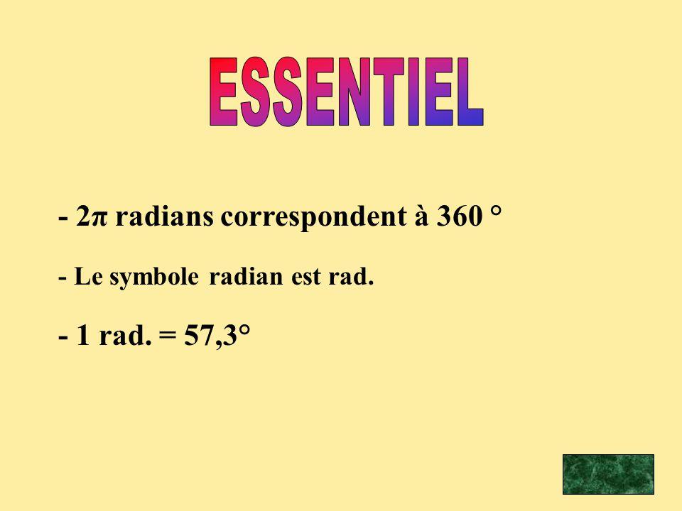ESSENTIEL - 2π radians correspondent à 360 ° - 1 rad. = 57,3°