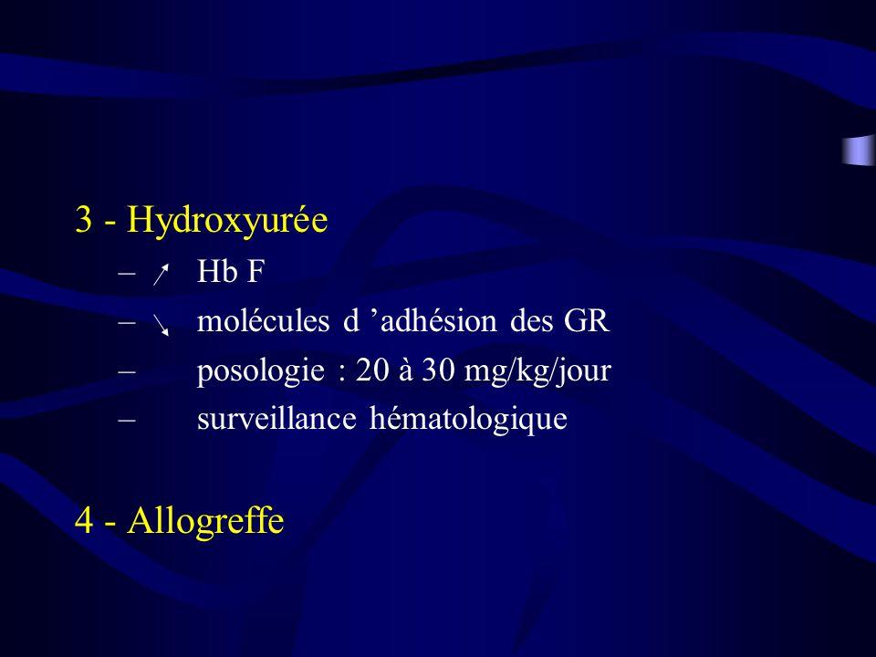3 - Hydroxyurée 4 - Allogreffe Hb F molécules d 'adhésion des GR