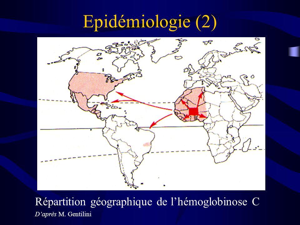 Epidémiologie (2) Répartition géographique de l'hémoglobinose C